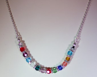 Swarovski Crystal Jewelry -  Mothers, Grandmothers, Great Grandmothers, Godmother, Sister, Family Necklace-Made to Order-Silver Filled Chain