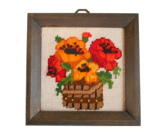 Vintage Needlepoint Picture Bold Bright Pansy Pansies Small Wall Decor Shabby Cottage 6 X 6 Hand Embroidered Finished Picture in Frame