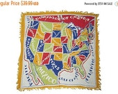 WINTER CLEARANCE Vintage Souvenir Scarf Colorful 48 States
