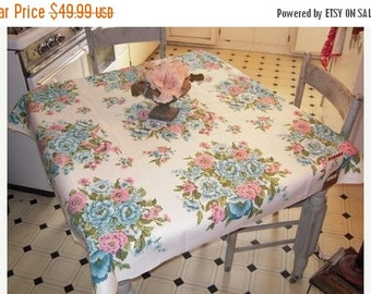 CLEARANCE SALE Vintage Tablecloth Bouquets of Pink & Blue Roses MWT