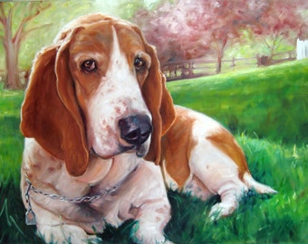 Bella Basset BELLA, custom Pet Portrait Oil Painting by puci, 44x32""