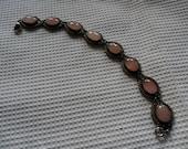 RESERVED  Vintage Silver Bracelet with Pink Moonstones