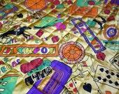 Vintage Casino Fabric, Gambling Fabric, 1.5 Yds Orangey Gold Quilted Fabric, Slot Machines, Black Jack, Roulette, Las Vegas, Atlantic City