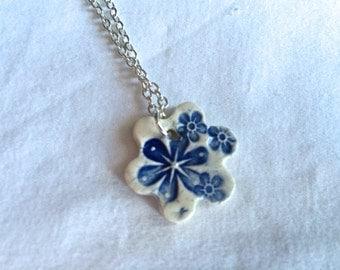 Blue and white Flower pendant necklace, handmade, ooak ceramic