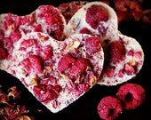 VALENTINE SALE 2 Raw valentine chocolates with coconut, raspberries and rose petals NO Nuts