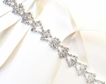 Art Deco Bridal Headband - Custom Satin Ribbon - Rhinestone Crystal Headband or Thin Belt - Standard Length
