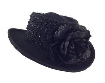 "Women's Golf Hat, Wool Felt Gambler Hat, Race Day Hat, Ladies Golf Gift -  ""The Black Nine"""
