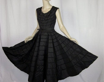 50% Off Sale Vintage Early 50s Full Circle Skirt Black Party Dress, Sz S