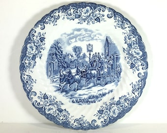 """Vintage Johnson Bros. """"Coaching Scenes"""", Blue and White Dinner Plate, Fluted Rim, Floral Border"""