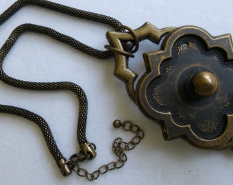 REPURPOSED HARDWARE NECKLACE w Large Washer Rolled Snake Chain,Steampunk Jewelry,Bohemium Jewelry
