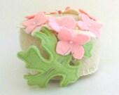 Hydrangea Pincushion, Felted Wool Flower Pin Cushion, Handmade Flower Sewing Pincushion