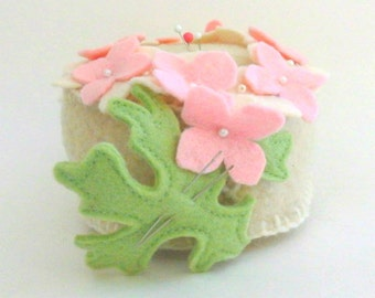 Hydrangea Pincushion, Felted Wool Flower Pin Cushion, Handmade Flower Sewing Pincushion
