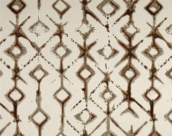 "Shibori Curtain Panels, Hipster Home Decor, Trendy Brown Window Curtains, Tribal Rod-Pocket Curtains, Modern Curtains, One Pair 50""W"
