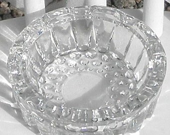 Hobnail Glass Ashtray Candle Holder Vintage