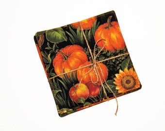 4 PC Reversible Coaster Set Fall Themed Pumpkins Sunflowers Home Decor, Mini Mat, Candle Mat, Ready to Ship