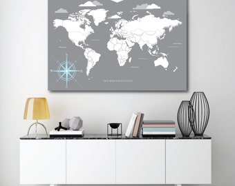 Modern Travel Map, INTERACTIVE Family Map, Housewarming Gift, World or USA Map // Choose Art Print or Canvas // H-I05-1PS AA4