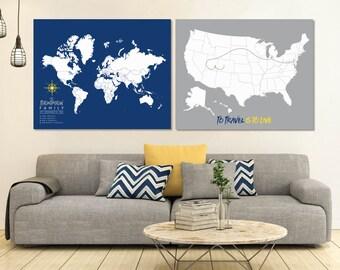 World Map Set, Map Set, Travel Map Set, USA and World map set, USA map Set, Canvas Pushpin Travel Map, World Map Wall Art // H-I22-2PS AA4