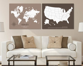 Gift for Hiker, Adventure Hiker Map, World Map Decor, Personalized Travel Map, Pushpin Travel Map, Hiker Gift // H-I20-2PS AA4