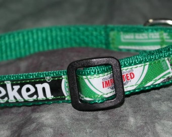 Adjustable Cat or Toy Sized Dog Collar from Recycled Heineken Beer Labels