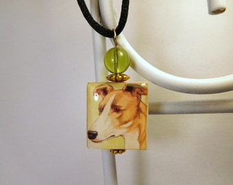 GREYHOUND Dog Jewelry / Scrabble Pendant / Necklace with Cord / Charm / Vintage Art