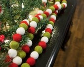 Christmas- Winter- Wool Felt Ball Garland, OLD ST. NICK! 8ft. Christmas/Winter Decor, Photo Prop! Ready To Ship!