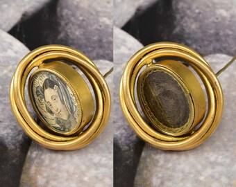 Antique Victorian Gold Locket Brooch, Woven Hair Brooch Pin, Memento Mori Swivel Brooch Locket, Mourning Jewelry, Antique Jewelry
