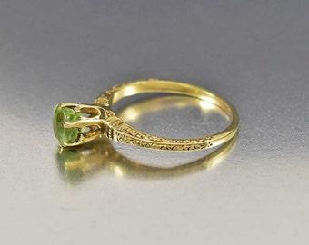 Edwardian Peridot Engagement Ring, 14K Gold Antique Engagement Ring, Green Peridot Ring, Antique Jewelry, August Birthstone Ring