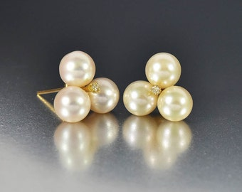 Mikimoto Pearl Diamond Earrings, 14K Gold Diamond Studs Earrings, Vintage Akoya Pearl Earrings, Pearl Studs Earrings, Mikimoto Earrings