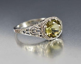 Lemon Citrine Ring, Engagement Ring, Sterling Silver Filigree Size 6.5 Art Deco Jewelry Style, Promise Ring, Birthstone Ring, Gemstone Ring