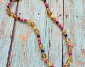 Adult Polished/Unpolished Mix Baltic Amber and Pink/Purple Gemstone bead Necklace