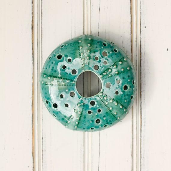 medium urchin wall hanging, urchin tabletop sculpture, teal