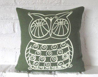 Pillow Cover - Cushion Cover - Owl - 12 x 12  inches - Choose your fabric and ink color - Accent Pillow