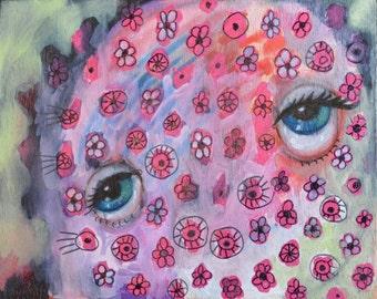 OOAK Original Pink Flower Face Painting on Panel