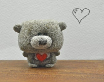 Needle Felted One of a Kind Teeny Tiny Mini Wool Valentine Teddy Bear