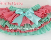 4 Ruffle Sassy Pants Classic Style Ruffle Diaper Cover Bloomer Coral and Tea Green