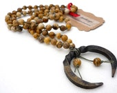 Picture jasper knotted necklace  with hand forged steel pendant * Cleveland artist