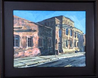 Santa Fe Painting Adobe Houses Southwestern Original Painting New Mexico Adobe Pueblo Architecture Design Painting blue sky Gwen Meyerson