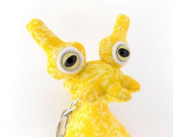 Monster Keychain, Cute Keychain, Alien Keychain, Yellow Keychain, Stocking Stuffer by Adopt an Alien named Jamison