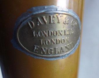 Davey & Co Tall Copper Vintage Vase, Vintage Tall Copper Vase, London England Plain Copper Tube Vase, Masculine Style Vase, Gift for Man