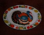 Turkey Platter Tray Enamelware Vintage color stencil enamel ware