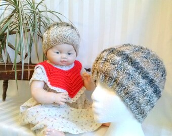 Mommy & Me Hat Set. Mother Daughter Son. Photo Prop. Cable Beanie. Baby or Doll or Teddy Bear Hat. Beige. Tan. Gradient. Brown. Tweed Stripe