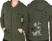 Dandelions Zip Hoodie Birds Flying  Green Zip Hoodie  Graphic hoodie  Gift for Him Gift for Her