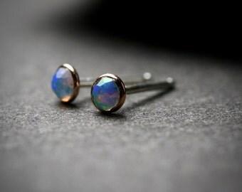 Tiny bezel set 3mm faceted opal stud earrings set in solid 14k rose gold