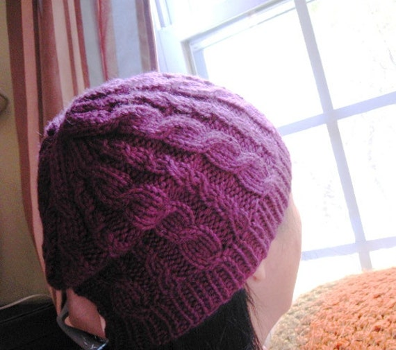 Knit Beanie Pattern Worsted Weight : PDF knitting pattern, Simple Cable Hat tutorial, worsted ...
