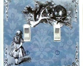5 CHOICES- Alice in Wonderland Double Switchplates w/ MATCHING SCREWS- Lavender damask Alice in Wonderland art Alice wall art decorations