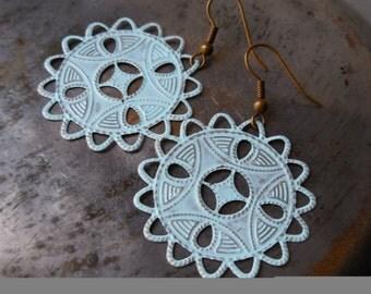 Sea blue earrings. Long filigree lace earrings. Sky blue. Light blue earrings. Pale powder blue. Tribal African Moroccan style jewelry boho