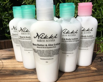 Shea Butter & Aloe Lotion Sample -  FRUIT/VEGETABLE scents (part 2)