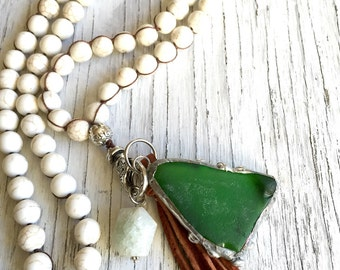 Long Leather Tassel Necklace with Sea Glass Pendant and Gemstones Beaded Nedcklace