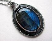 Labradorite Sterling Silver Pendant, Blue Labradorite, Handmade Metalwork Necklace