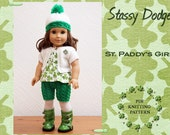 Knitting Pattern for American Girl Doll - Cardigan Hat Short Set -St Paddy's Doll - St Patrick outfit - Doll Clothes- PDF File